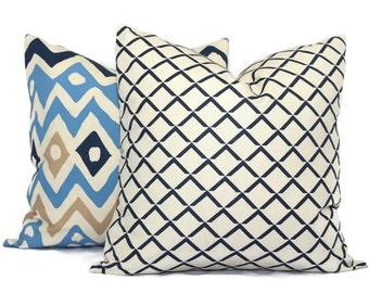 Quadrille Navy Terrace Grande Pillow Cover Square or Lumbar pillow, Toss Accent Pillow, Throw Pillow,  China Seas