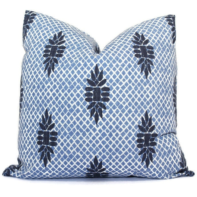 Wedgewood Blue Throw Pillows : Boca Indigo Blue Wedgewood Trellis Decorative Pillow Cover