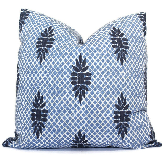 Boca Indigo Blue Wedgewood Trellis Decorative Pillow Cover