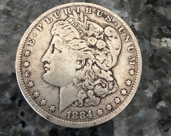 1884 Silver Dollar-1884 US Coin-Morgan Dollar-Lady Liberty-Antique Money-vintage US Currency-gift idea-90% silver-Collectible coins