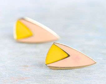 Pink and Yellow TRiangles - Vintage Clip on Earrings Earrings