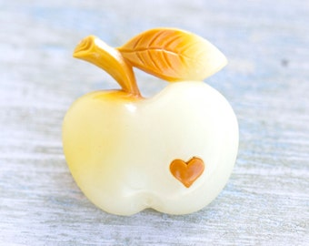 Celluloid Apple Brooch - Vintage Yellow Lapel Pin