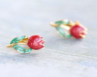 Red Tulips Earrings - Screw Back Clip on Earrings