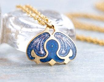 Art Nouveau Necklace - Blue Enamels Pendant on Golden Chain