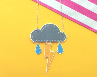 Cute Thunder Cloud Necklace with Rain Drops