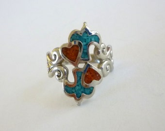 Turquoise Coral Inlay Ring, Heart Bird Ring, Size 6.5, Turquoise Coral Jewelry