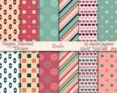Scrapbooking Digital Paper Patterned Backgrounds Printable - 12 designs, 300 dpi, jpg - EVELIN