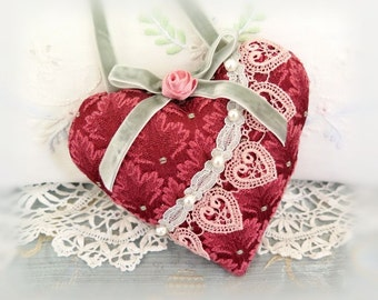 "Heart Ornament Heart Pillow, Door Hanger Heart, 5"" Decor Pillow, Burgundy Pink, Fabric Heart Handmade CharlotteStyle Decorative Folk Art"