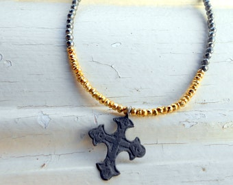 Pyrite Cross Necklace, Choker, Antique, Medieval Cross, Archaeological Find, Ancient Relic, Found Object, Bronze, Repurposed, Upcycled