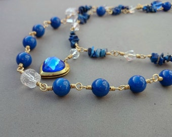 RESERVED Blue Statement Necklace - Lapis Lazuli Necklace with Crystal Locket, Porcelain, Glass, Czech Glass and Brass