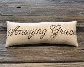 Amazing Grace Decorative Pillow - Christian Home Decor - Religious Accent Pillow - Hand Embroidered Shelf Sitter - Script - Black Tan Plaid