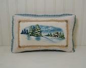 Winter Snow Scene Decorative Pillow - Retro Applique Throw Pillow - Rustic Small Accent Pillow - Decorative Lace - Osnaburg - Cottage Chic