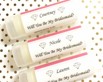 Bridesmaid Gift - Will you be my Bridesmaid Gift - Personalized bridesmaid gift - Lip Balm Favor - Bridesmaid Proposal - Bridal Party Gift
