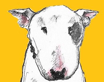 English Bull Terrier Card Yellow Dog