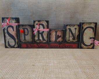 SPRING Word Block Sign