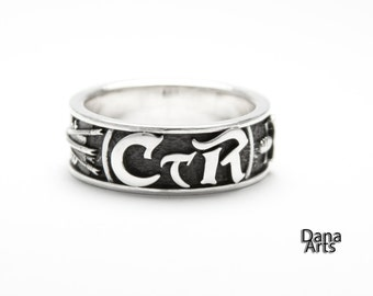 CTR ring - Straight and Narrow - sword and shield - in sterling silver