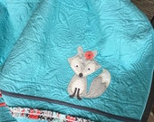 Turquoise baby girl fox quilt with salmon, grey, and ruffles 32x41
