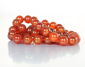 Chinese Carnelian bead Necklace. Hand Knotted chinese export jewelry. 26 Inch Long Necklace