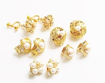 LoT Vintage Pearl Rhinestone Gold Earrings Clip on  5 pairs 1960s