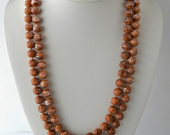 Vintage Carved Plastic Bead Double Strand Necklace, Ethnic Print