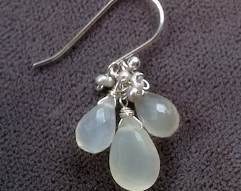 Gemstone Bouquet Earrings - Faceted White Moonstone Drops Freshwater Pearl Cluster Earrings - Sterling Silver - Bridal Party Jewelry