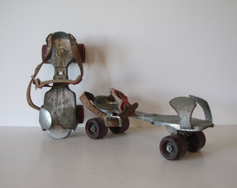 Vintage  Metal Roller Skates with Leather Straps - made in USA