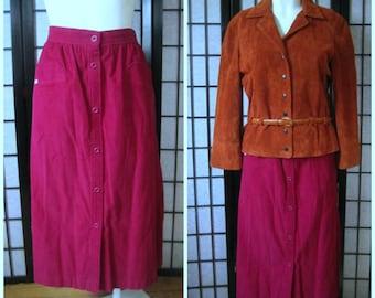 Vintage Skirt Magenta Corduroy 32 Inch Waist M L Midi Length 1970s 1980s Oui by F.B. Jean Reddish Purple Cotton Cord