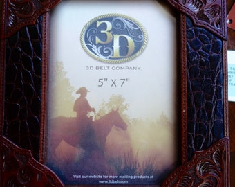 embossed leather frame 5 X 7  never used...