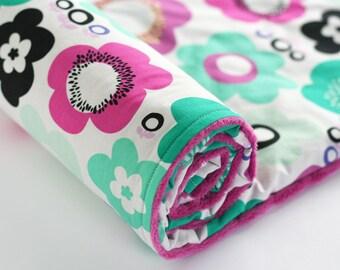 Floral Minky Baby Blanket, Baby Girl Blanket, Girl Baby Blanket, Flower Minky Blanket, Raspberry Seafoam Mint White Black, Geometric Bliss