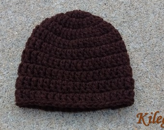Baby Crochet Beanie Crochet Hat Chocolate Brown Newborn 0-3 month Baby Boy Baby Girl Take Me Home fall winter baby hat READY TO SHIP