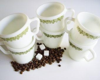 Vintage, Crazy Daisy, Pyrex Mug, Green, Spring Blossom, Set of 6, Milk Glass Mugs, Coffee Mugs, Mid Century, MCM, gift under 30