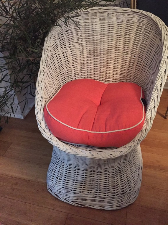 Repeat Barrel Back Tub Rattan White Vintage Chair Stamped