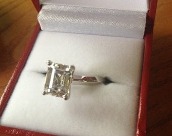 14kt Radiant/Emerald Cut White Sapphire Engagement Ring Solitaire