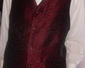 Burgundy jacquard clasic men's vest, size XXL formal mens vest, ready to ship