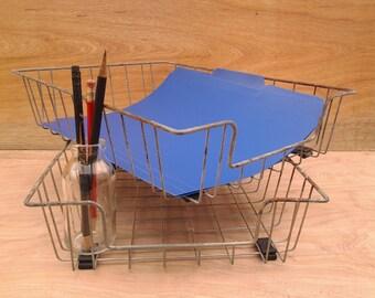 Vintage wire baskets - office storage - industrial design - office organizing - metal baskets - vintage office supplies - home office