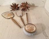 Vintage NOS Matson Boxed 5 Piece Gold and Silver Vanity Set, Vintage Brush Comb Mirror Set, Vintage Decorative  Grooming Set