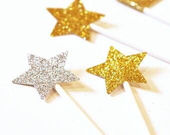 READY TO SHIP |  Gold Star - Glitter Star Stickers. Gold adhesive labels Set of 24 - Wedding invitation sealer | Scrapbooks Crafts stiker