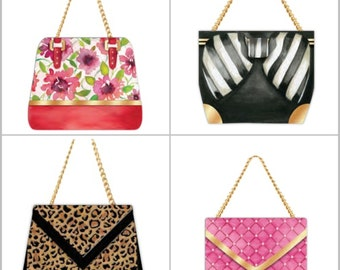 Altered Memo Pad Fashion Statement Stationery - Handbag Note Pads | Novelty Stationery Scrapbook Embellishments. Diva Favor Gift Ideas