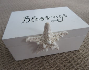 Blessings Box Count Your Blessings Give Thanks - White, Black and Gold with Knobby Starfish