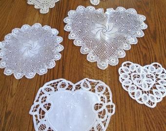 Lot Of 6 Lace Doilies / Lace Heart Doilies / White Lace Doilies / Intricate Lace / Set Of 6 / White Hearts / Cotton Heart Doilies / Wedding