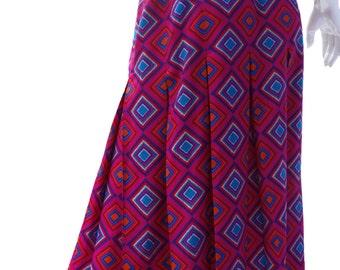 Vintage YSL SAINT LAURENT rive gauche Fuchsia Pleated Wool Skirt Fr40