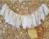 IVORY, Beige and Cream Fabric Garland - Backdrop Photo Prop - Tassel Garland - Bridal Shower Decoration - Baby Shower - Banner - LACE Rustic