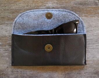 Dark Brown Repurposed Leather Glasses Case