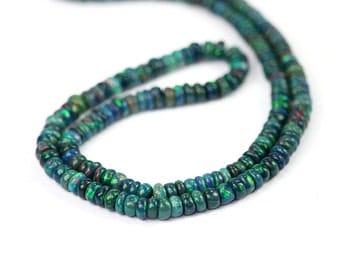 Ethiopian Welo Opal Smooth Rondelles 10 Quality Rainbow Fire Black Precious Gemstone October Birthstone