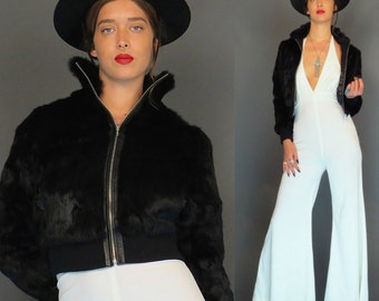vintage 80s Wilson black rabbit fur coat // leather trim // size small // boho coat // outerwear