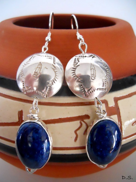 Handmade, Southwestern, Sterling Silver, Handstamped, Metalwork, Cobalt Blue, Arizona Shattuckite, Feather, Dangle Earrings