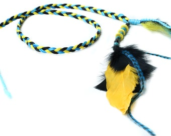 Braided Feather Headband, tribal hair extension, Gypsy hair braid, yellow blue black hair, free spirit, boho headwrap, native, hippie style