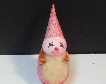 Vintage Christmas Ornament Pink Pixie Elf  Paper Mache Cotton Batting JAPAN