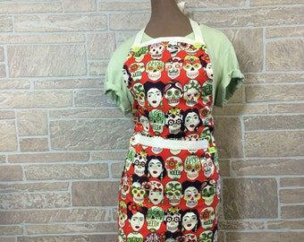 Frida Kahlo apron Sugar Skull apron Day of the dead apron Hostess apron Chef apron Baker apron