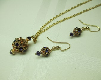 Filigree and Crystal Pendant Necklace and Earring Set in Purple and Gold